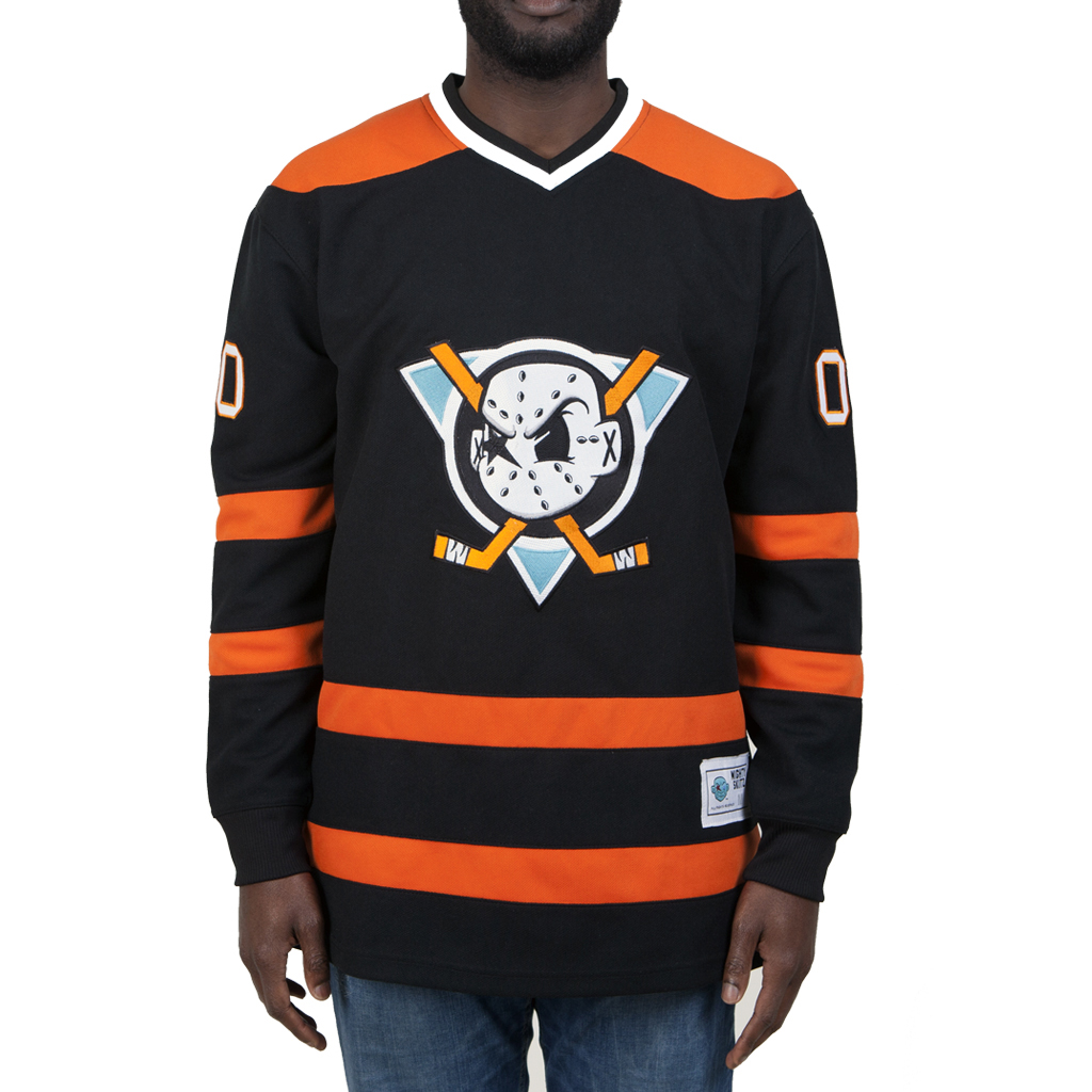 BLACK AND ORANGE MIGHTY SKITZ HOCKEY JERSEY — Playdot ... 2d45ff00cd4